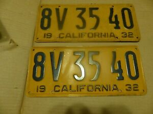 1932 California License Plate Yom Street Rod Hot Project Chevy Ford Dodge Ply