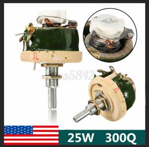 25w High Power 300 Ohm Wirewound Short Shaft Potentiometer Rheostat Resistor Usa