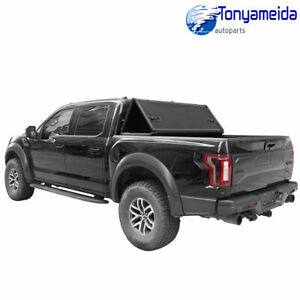 Tonneau Cover Bed Aluminum Lock Hard Tri fold Fit For 2015 2018 Ford F 150 5 5ft