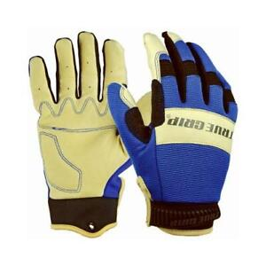 Hybrid Leather Work Gloves Pigskin spandex Blue Men s Medium