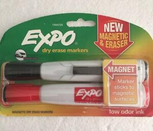 Expo Magnetic Dry Erase Markers With Eraser Chisel Tip Red Black Sealed