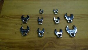 Set 10 Sae Standard Crow Foot Wrenches Open End 3 8 Drive Excellent