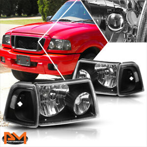 For 01 11 Ford Ranger Truck Black Housing Headlight Clear Side Corner Lamp Pair