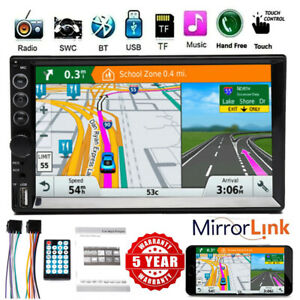 Double 2din Car Stereo Touchscreen Bluetooth Radio Aux Usb Mirror Link For Gps