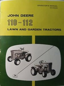 John Deere 110 112 Round Fender Lawn Garden Tractor Owners Manual 1963 1967 Rare