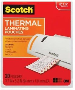New Scotch Thermal Laminating Pouches 3 X 5 20 Pouches Clear