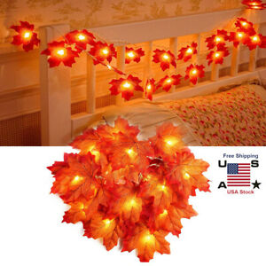 2 3M Halloween Christmas Maple Leaves Lighted Fall Garland 20 LED String Lights