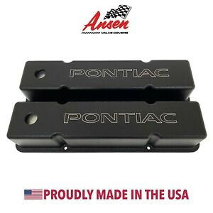 Small Block Chevy Valve Covers Tall Pontiac Logo Black Ansen Usa