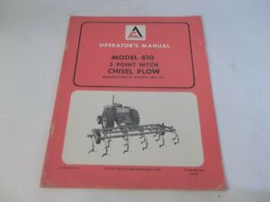 Allis chalmers 3 point Hitch Chisel Plow Model 610 Operator s Manual