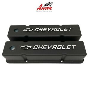 Small Block Chevy Tall Valve Covers Chevrolet Bowtie Logo Black