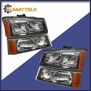 Black Headlights Bumper Lamps For 2003 06 Chevy Silverado Avalanche 1500 2500 Hd