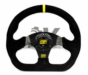 13 320mm Yellow Auto Racing Flat Suede Leather Fit Drift Sport Steering Wheel