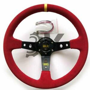 350mm 14in Red Suede Leather Deep Dish Racing Drifting Steering Wheel Universal