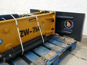 Wolverine Skid Steer Zw750 Hydraulic Concrete Breaker Hammer Two Bits Couplers