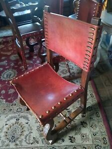 Vintage Farm House Oak Red Leather Chair Set Of 4