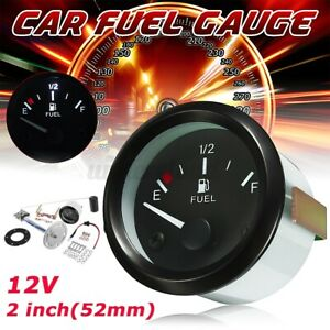 2 52mm Universal Car Fuel Level Gauge Meter With Fuel Sensor E 1 2 F Suv Auto