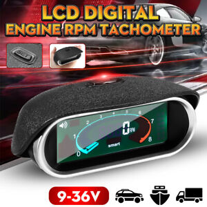 Lcd Digital Engine 50 9999 Rpm Tacho Tachometer Boat Car Universal Vehicle Auto