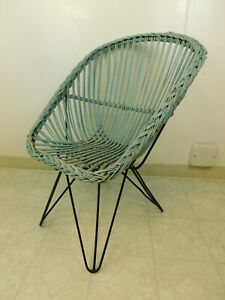 Vtg 60s Patio Rattan Mid Century Modern Iron Hairpin Wicker Lounge Bucket Chair