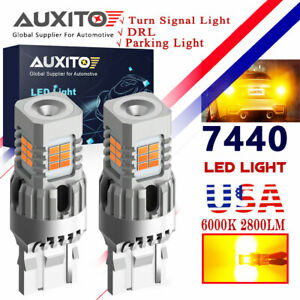 2x 7443 7440 Led Amber Yellow Turn Signal Parking Drl High Power Light Bulbs 50w