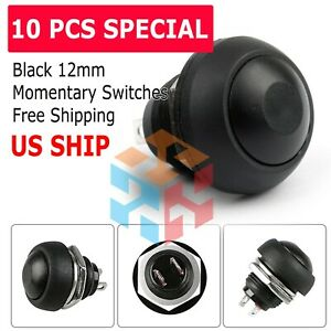 Momentary On off Push Button Switch Waterproof 12mm Black M122 Mini 10pcs