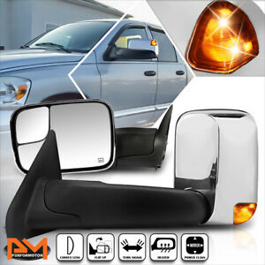 For 02 09 Dodge Ram 1500 3500 Power Heated Chrome Towing Mirror Led Signal Lamp