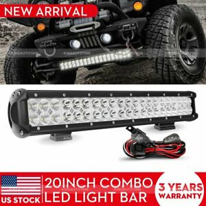 20inch Led Light Bar Work Spot Flood Combo Cree 4wd Car Atv Wiring Kit