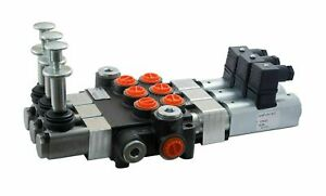 2 Spool Hydraulic Solenoid Directional Control Valve 13gpm 12vdc Hand Control