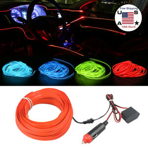 4m Rgb Led Car Interior Fiber Optic Neon El Wire Strip Atmosphere Light Kit App