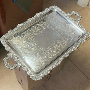 Egw S Is 3422 2 Large Antique Silver Plated Serving Tray Floral Decoration