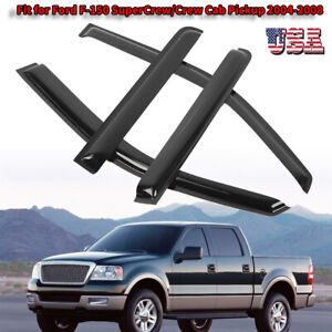4pcs Black Window Visors Vent Rain Guard For 04 08 Ford F 150 Super Crew Cab Us