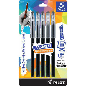 Pilot Frixion Ball Color Sticks Erasable Gel Pens 5 pkg black F32441