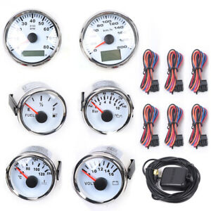 White 6 Gauge Set With Senders 8000mph Speedometer Oil Dash Panels For Car Boat