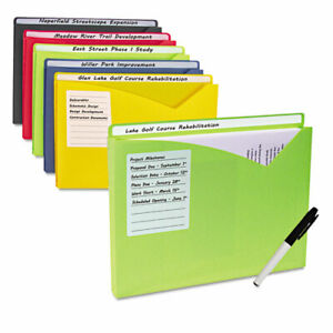 Write on Expanding Poly File Folders 1 Exp Letter Assorted Colors 10 bx