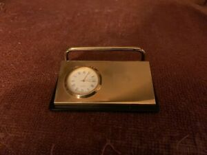 Vintage Brass South Africa Armscor denel kentron Business Card Holder With Clock