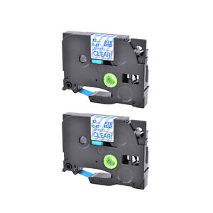 2pack Tze133 Blue On Clear Label Tape Tz133 For Brother P touch Pt1280 Pt2730