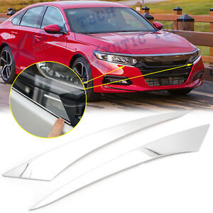 Chrome Front Headlight Lamp Eyelid Cover Trims For Honda Accord 2018 2019 2020