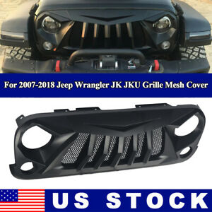 Front Grille Matte Black Abs With Mesh For 2007 2018 Jeep Wrangler Jk Jku Cover