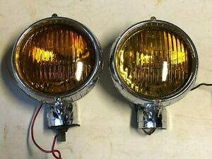 Vintage Pair Fog Light Electroline Dominion 12v Amber Early Truck Auto Car Old