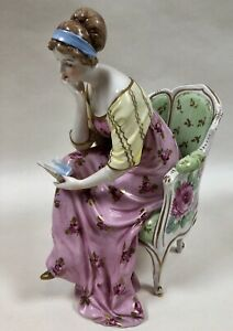 Vintage Dresden For Altman Co Figurine Seated Lady Woman Reading In Chair Roses