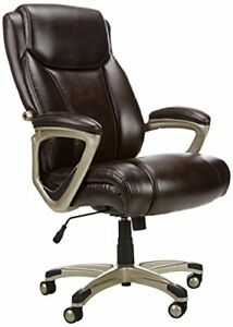 Big Tall Executive Computer Desk Chair Brown With Pewter Finish