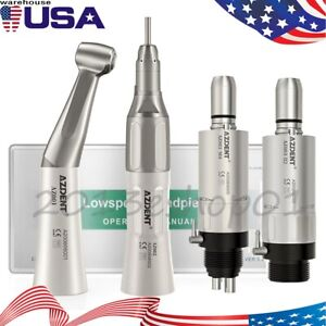 Nsk Style Dental Low Speed Handpiece Kit Contra angle Straight Air motor 2 4hole