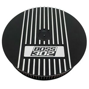 Ford Boss 302 13 Round Air Cleaner Lid Kit Black Wide Fins Ansen Usa