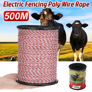 500m 2mm Roll Electric Fence Wire Rope Red White Polywire Steel Poly Rope Kit