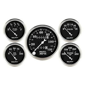 Auto Meter 1708 Old Tyme Black Series 5 Piece Kit