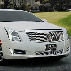 For Cadillac Xts 13 15 Grille Kit 2 Pc Classic Series Polished Vertical Billet