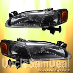 For 98 00 Toyota Corolla Clear Lens Black Headlights Corner Set 4 Pieces