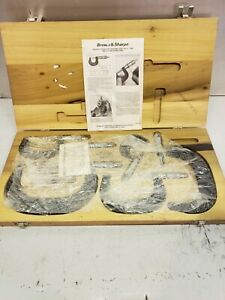 Brown Sharpe Metric Outside Micrometer Set 0 150mm With Wood Case