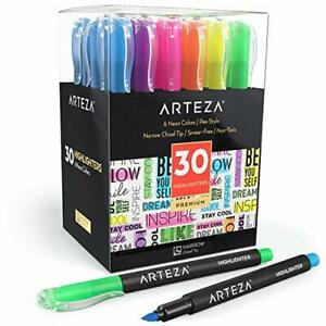 Arteza Highlighters Set Of 30 Narrow Chisel Tip Bulk Pack Of Markers In 6 Ass
