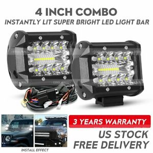 2x 4inch Led Work Light Bar Spot Flood Cube Pods Offroad Lamp Fog Suv Atv Wire