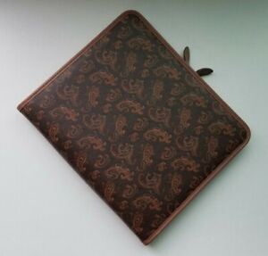 Leather Paisley Patterned Day Timer Planner 7 Ring Binder 1980s Folio Zippered